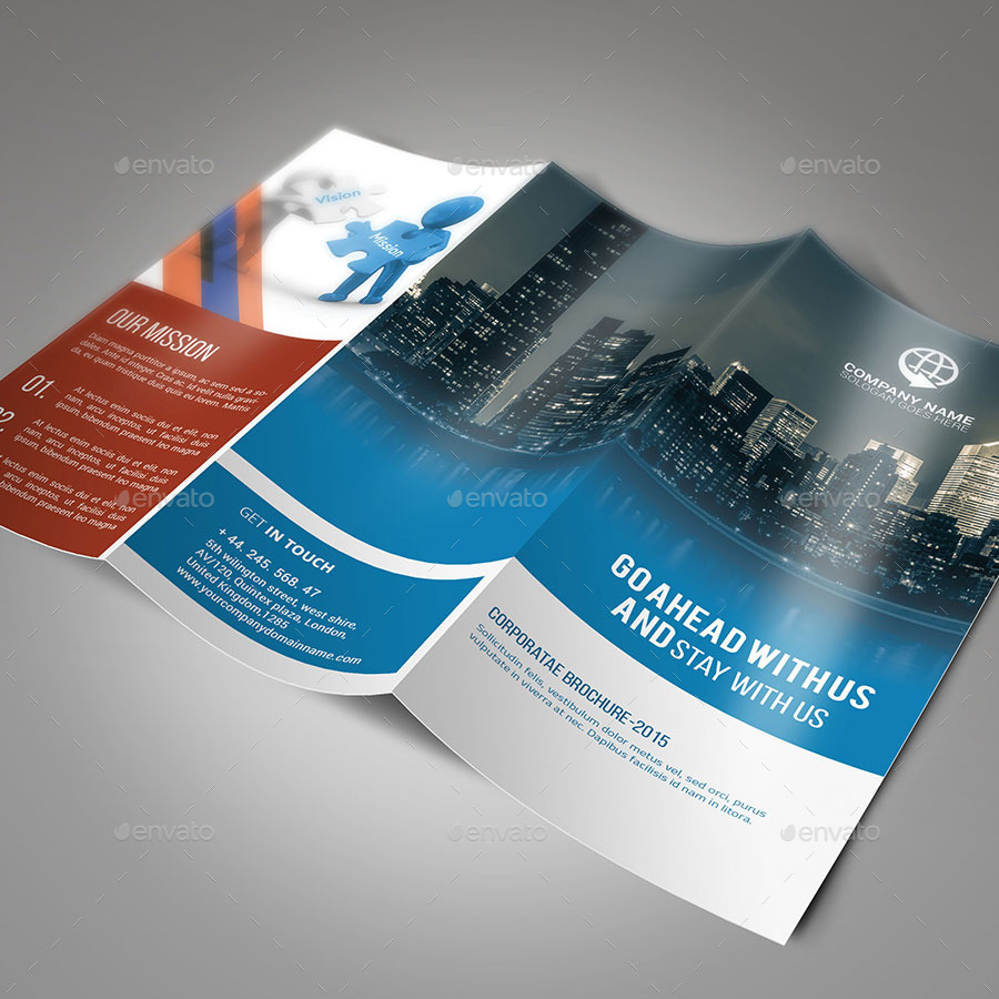 sample clean trifold brochure template