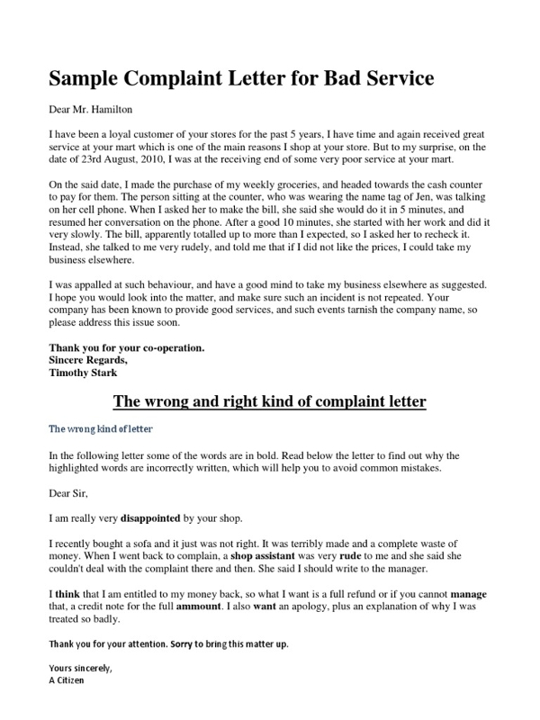 2 complaint letter to service provider examples pdf sample complaint letter for bad service example spiritdancerdesigns Images