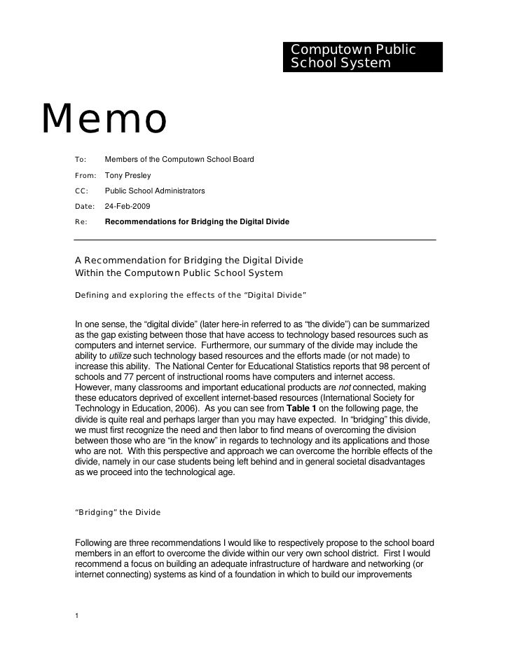 sample computown memo