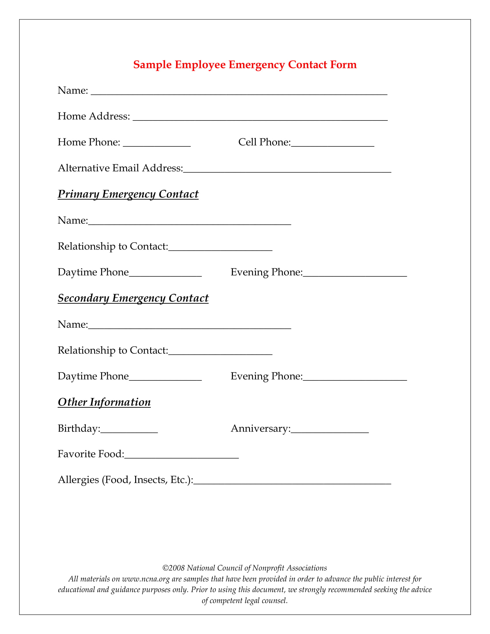10  emergency information form examples
