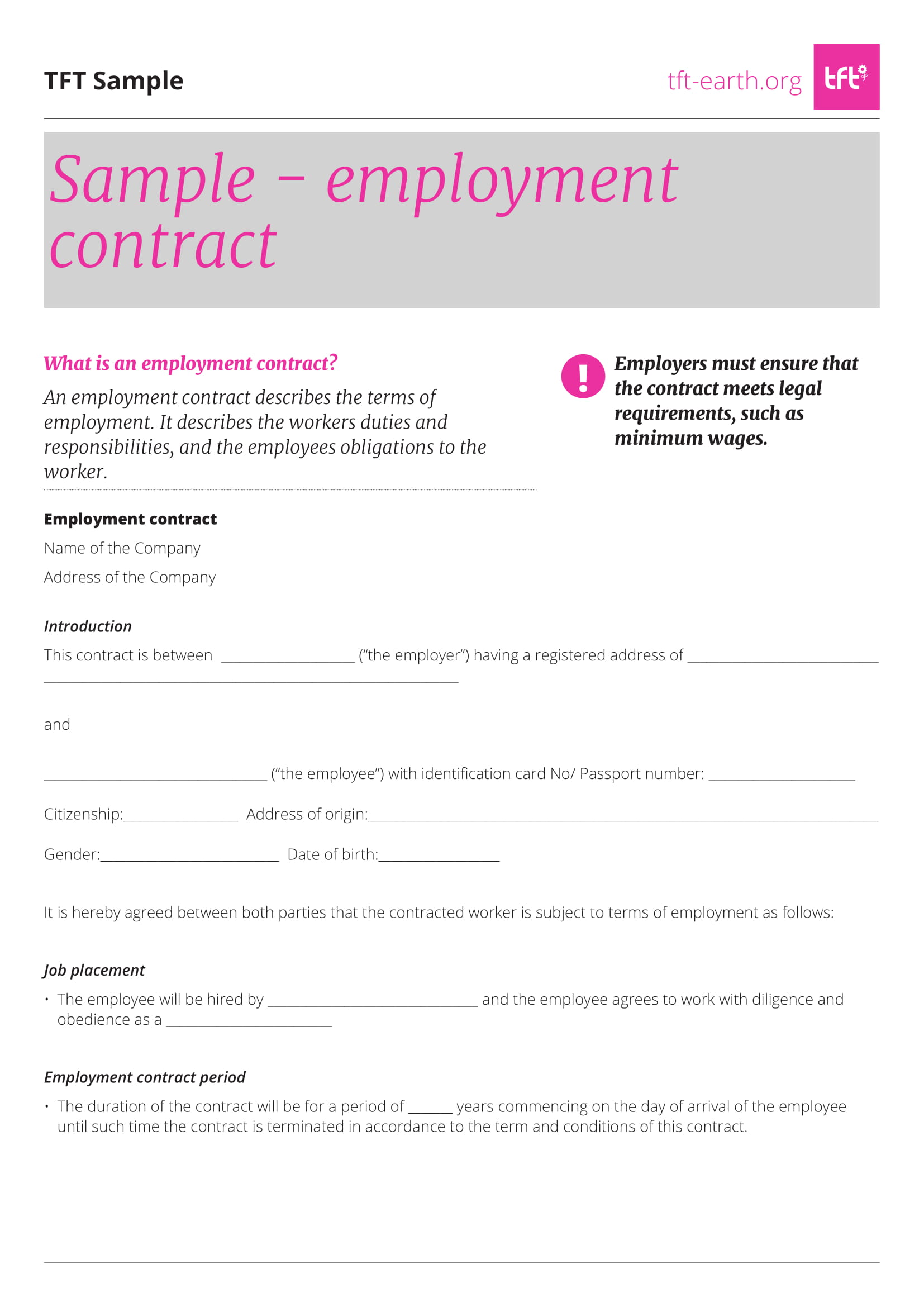 sample employment contract template1