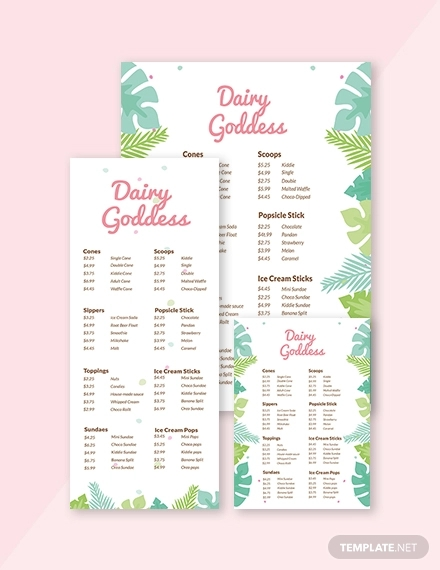 sample ice cream menu template