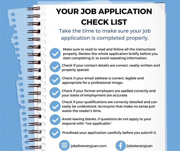 sample job application checklist