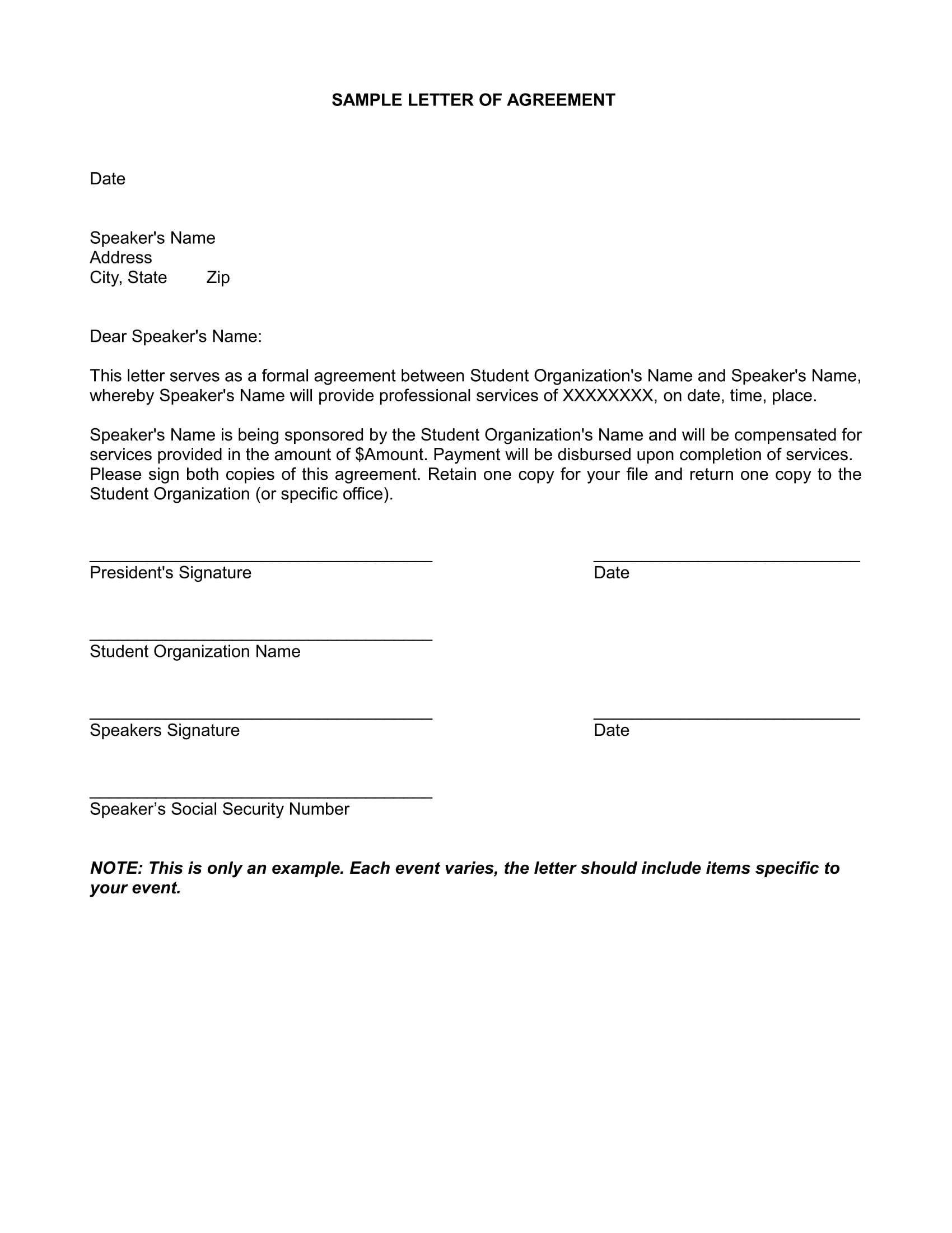 sample letter of agreement