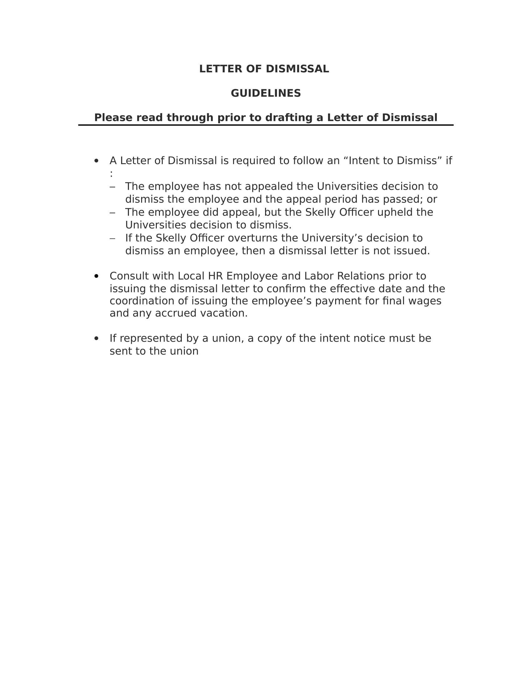 9  examples of employee termination letter template