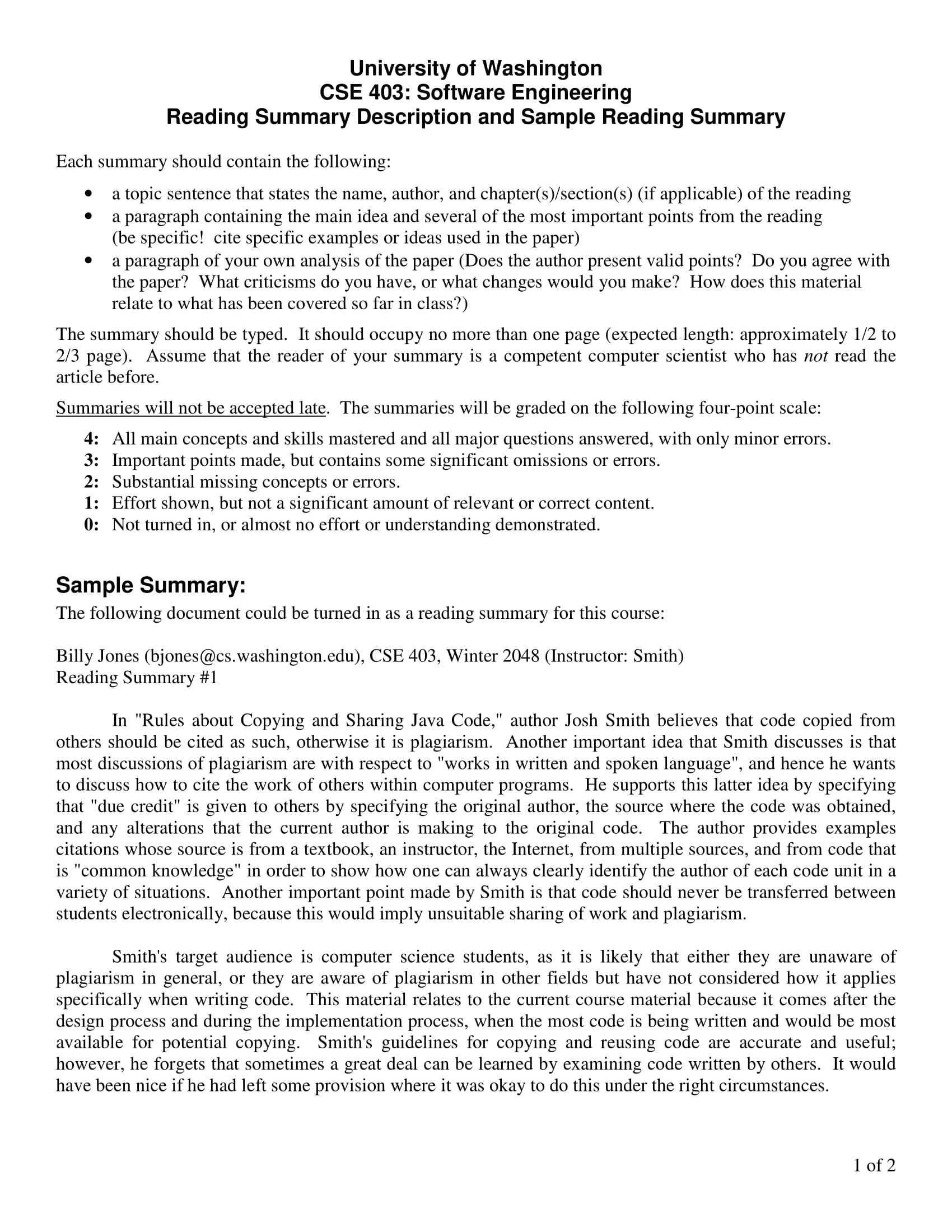 sample reading summary