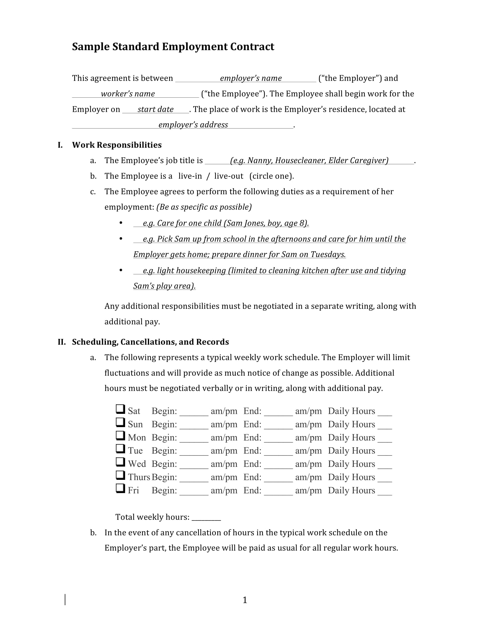 sample standard employment contract template