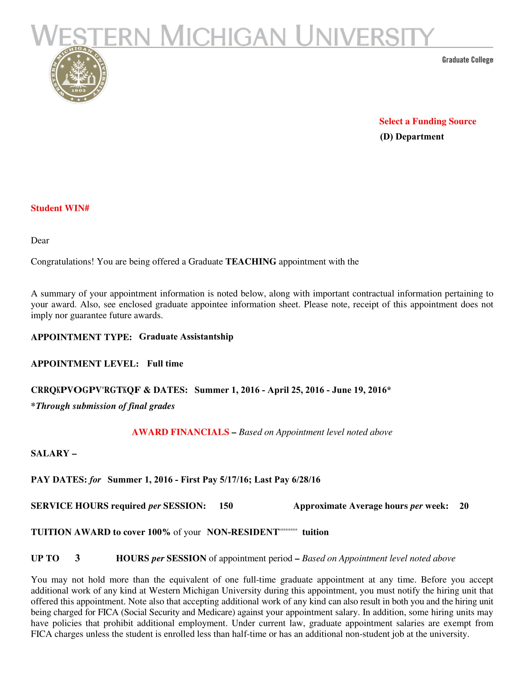 sample teaching appointment letter