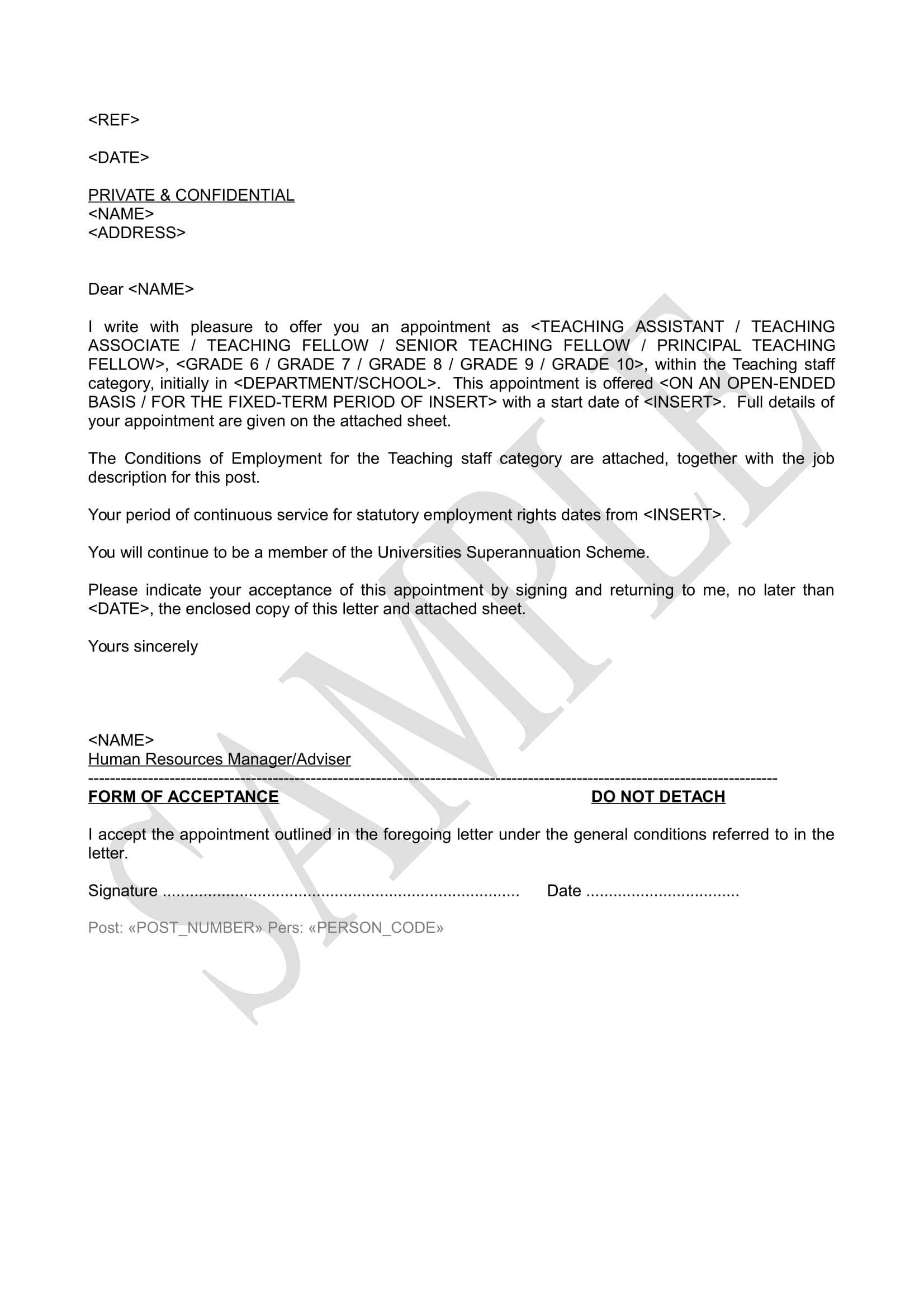 sample teaching staff appointment letter