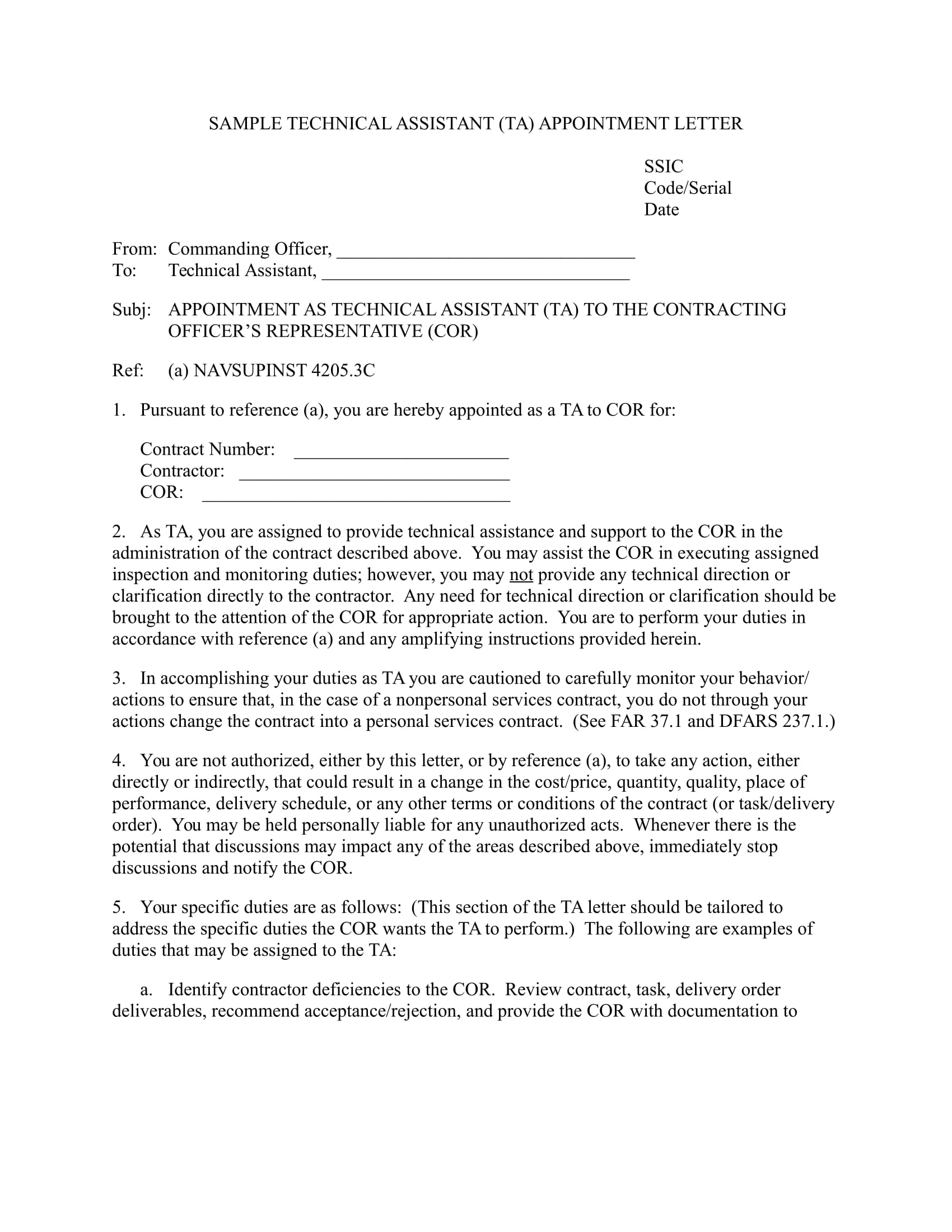 sample technical assistant appointment letter