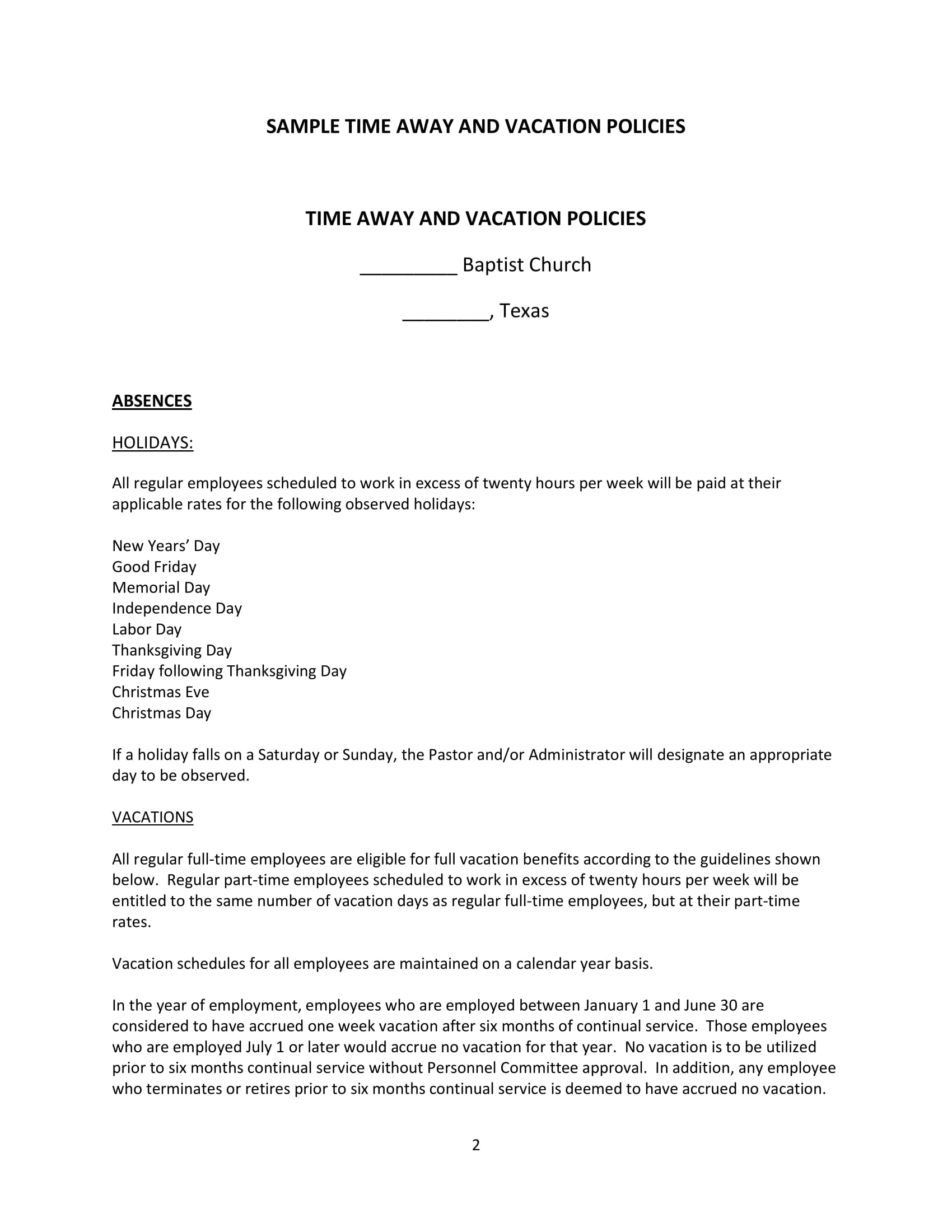 sample time away and vacation policies