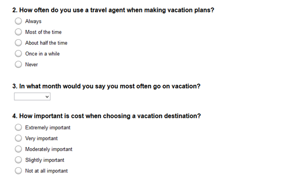 sample travel survey