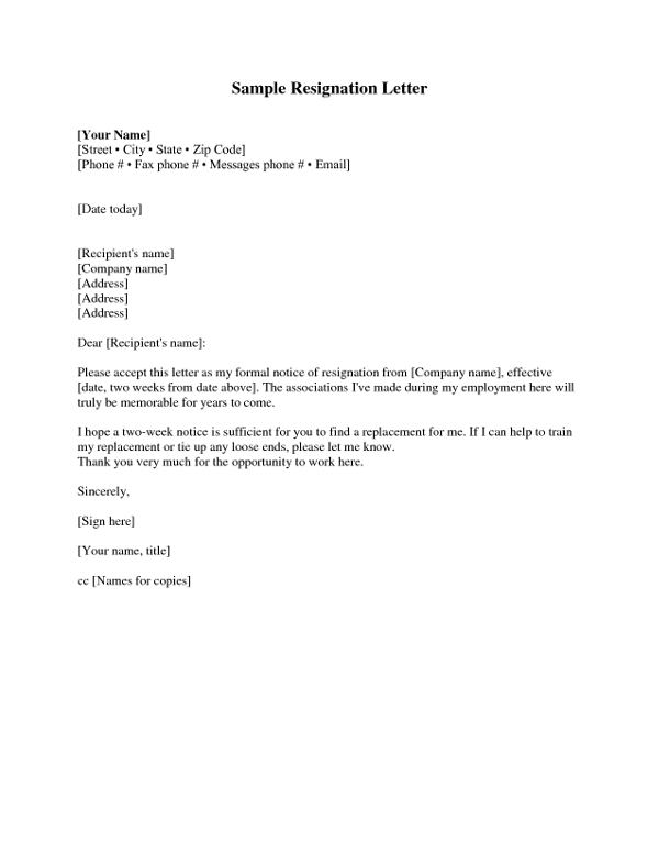 sample two week notice resignation letter