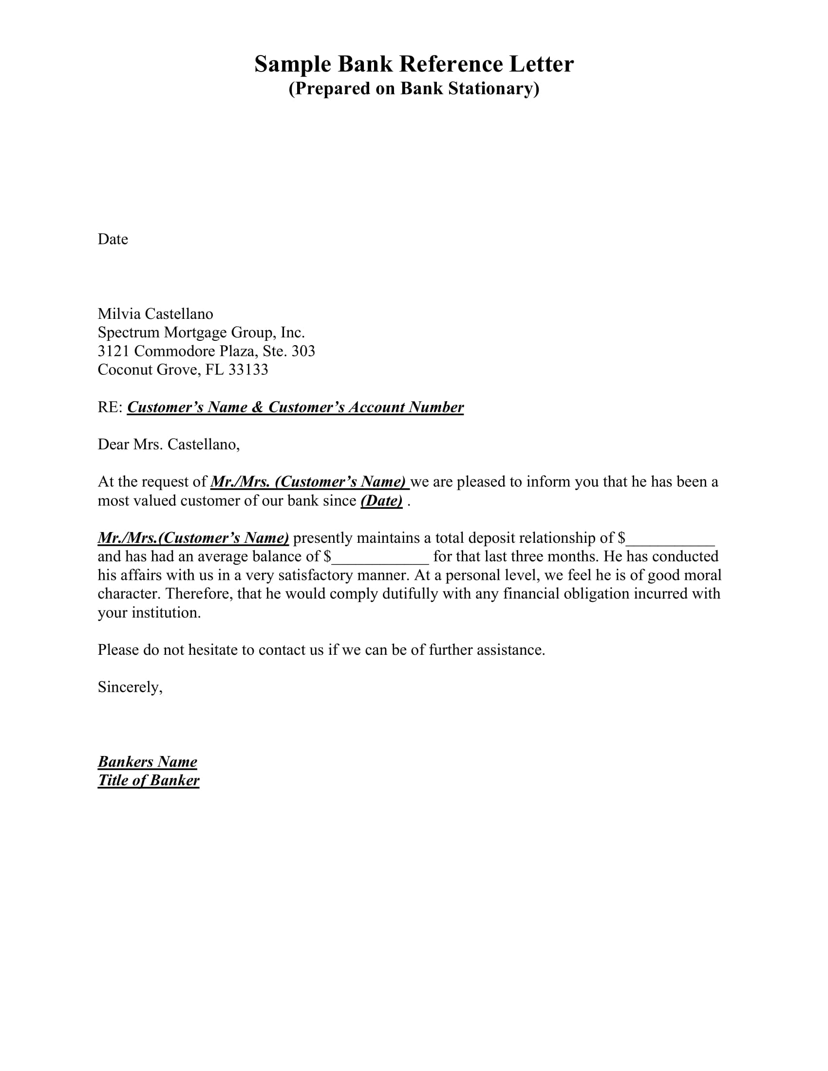 sample of bank reference letter