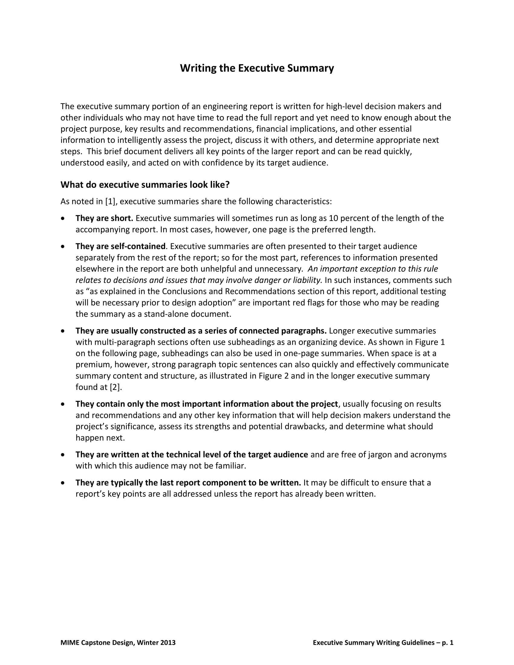 sample of a basic executive summary