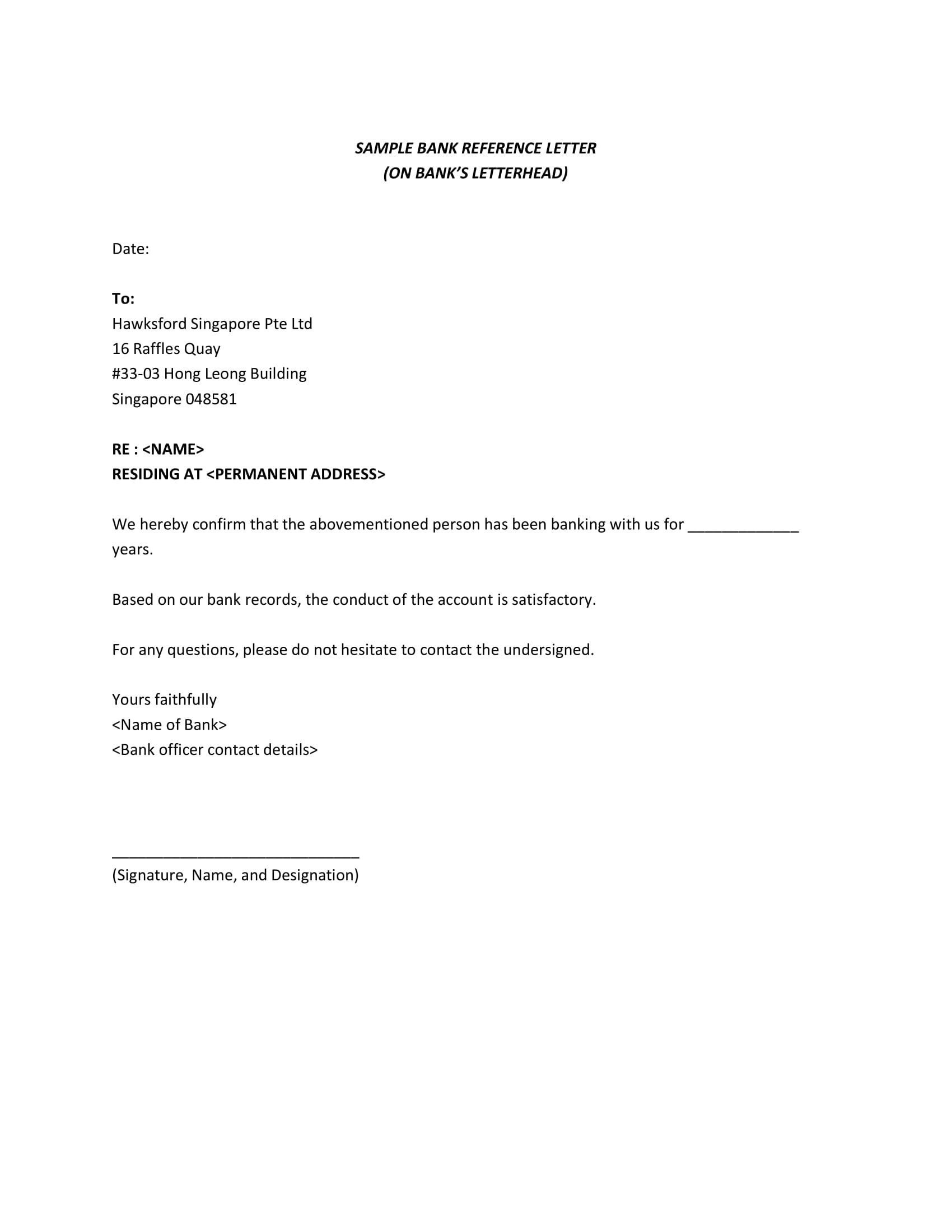 sample personal bank reference letter 1