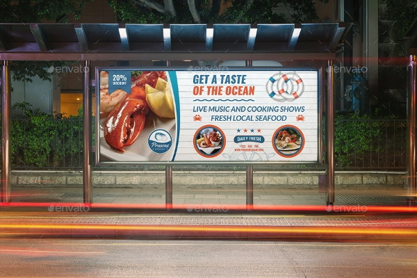seafood restaurant billboard