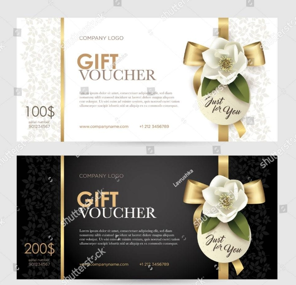 set of luxury gift voucher