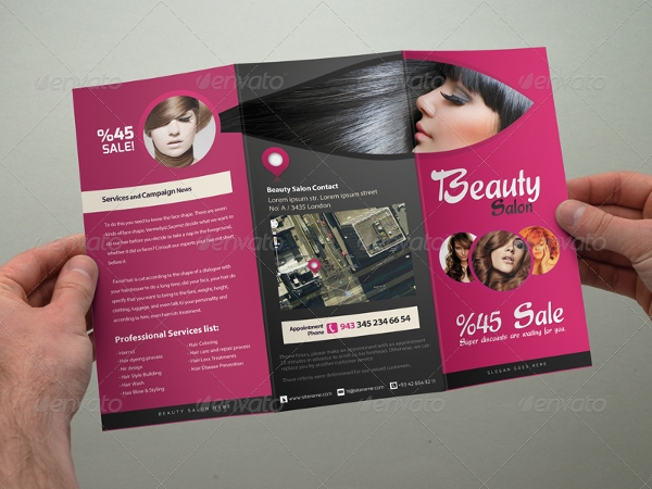 simple beauty salon tri fold brochure