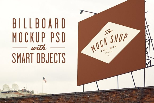 simple billboard mock up with small objects example