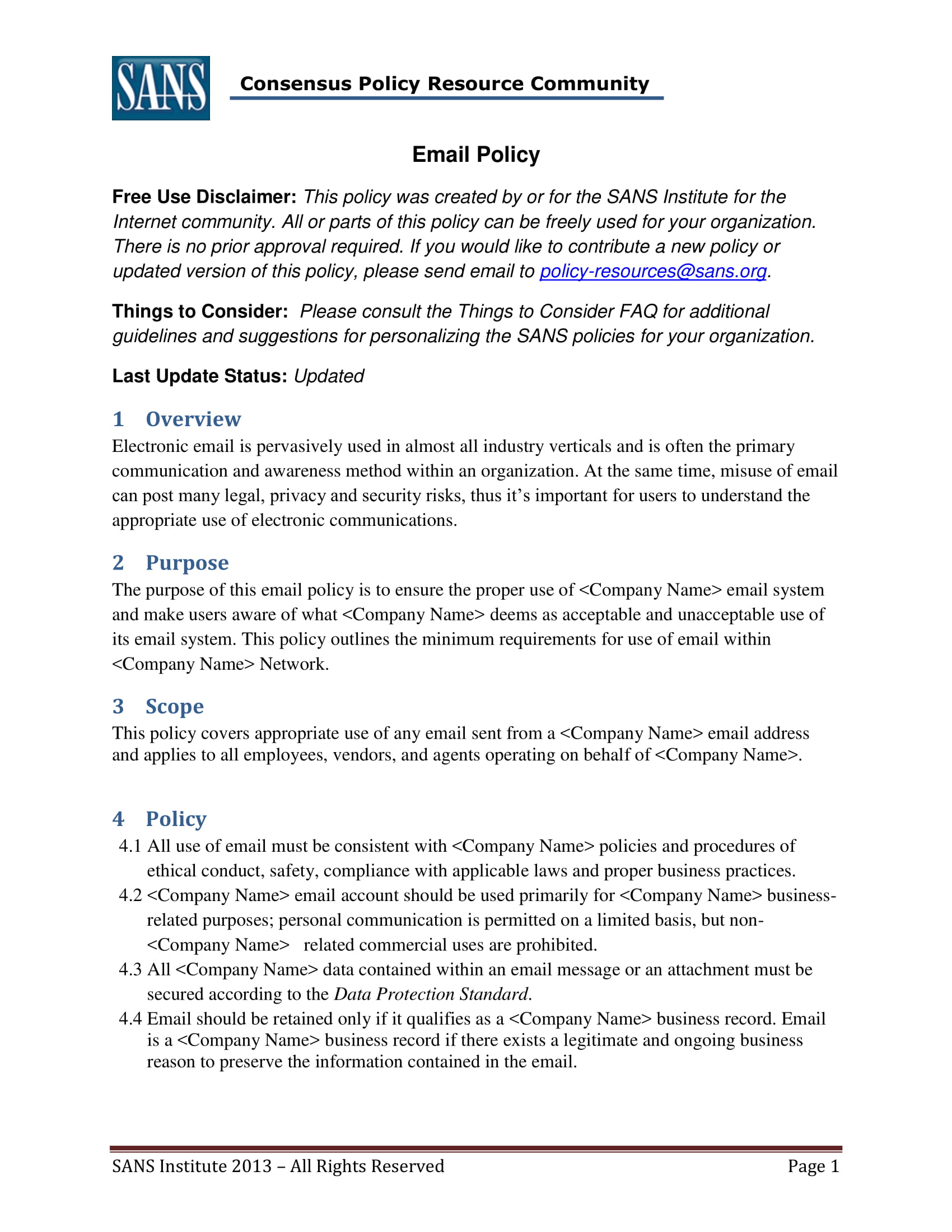 14 employee email policy examples pdf for Corporate privacy policy template