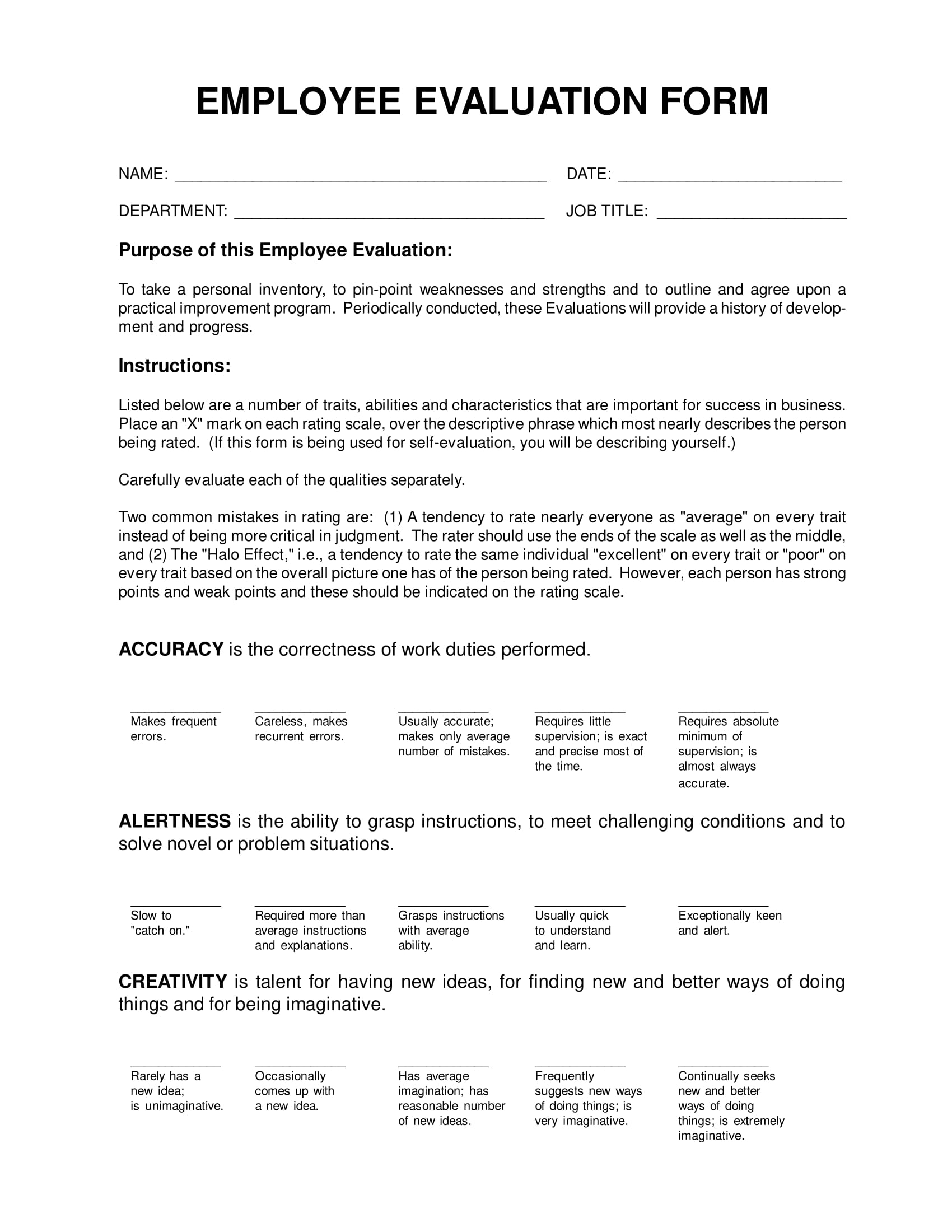 simple employee evaluations