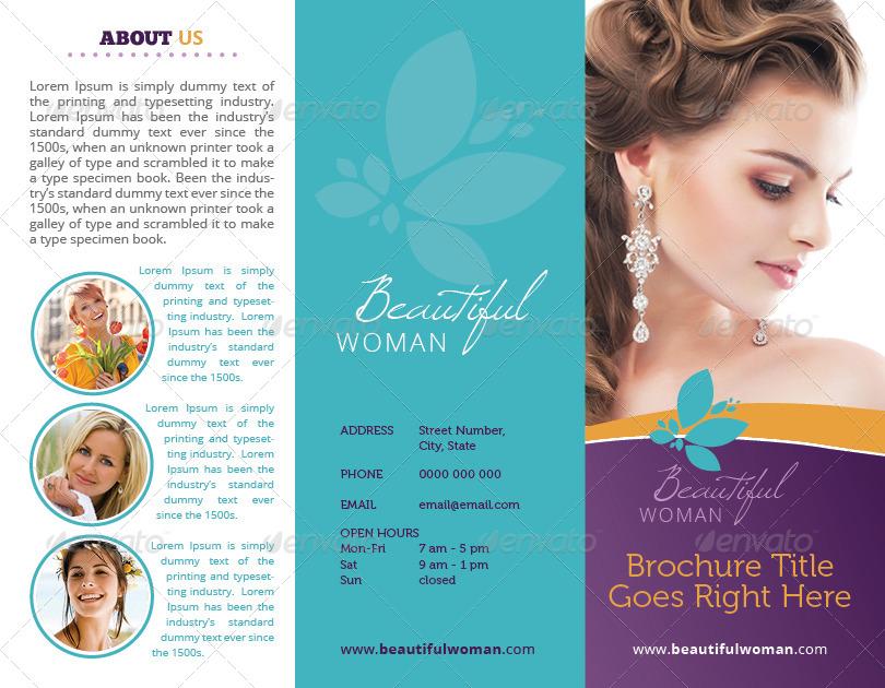 simple hair salon tri fold brochure
