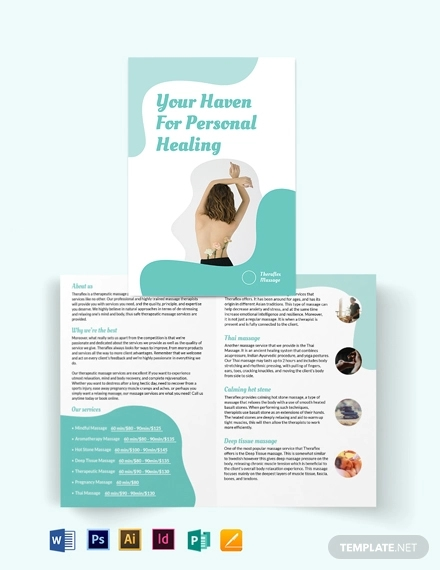 simple massage therapy bi fold brochure template