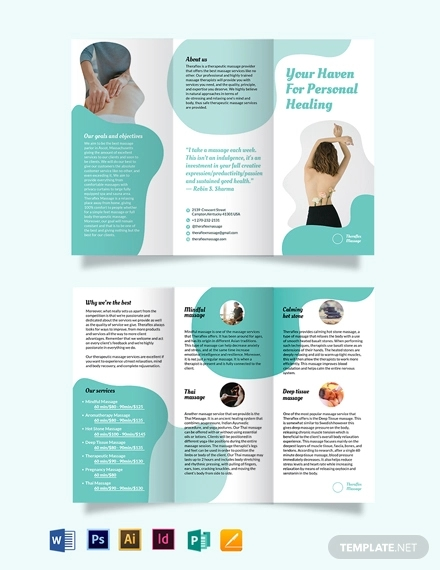 simple massage therapy tri fold brochure template