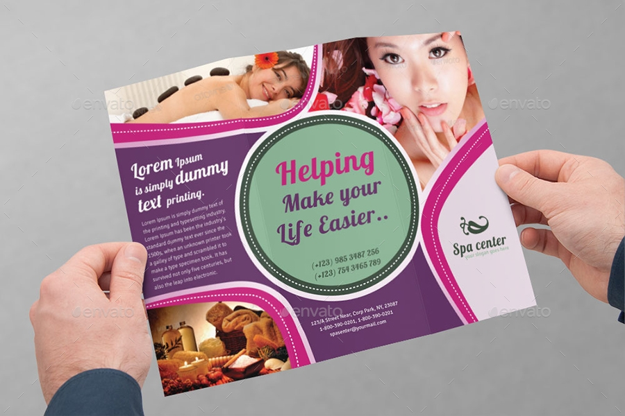spa center tri fold brochure example