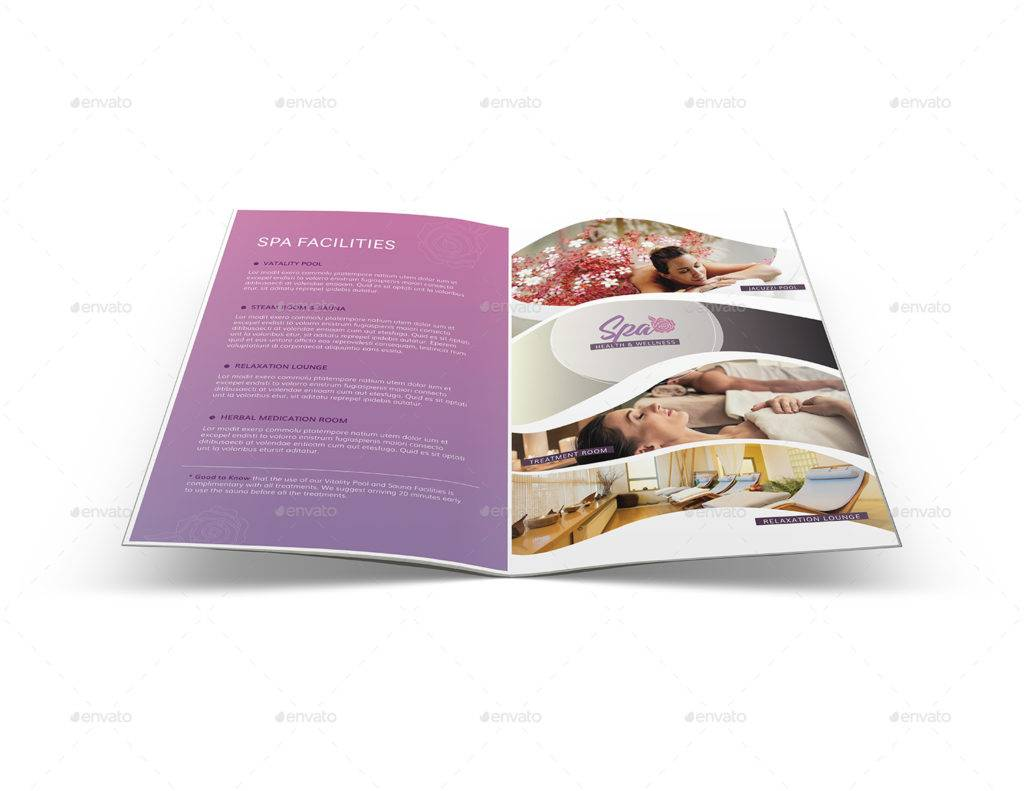 spa health and wellness center sample bi fold brochure example