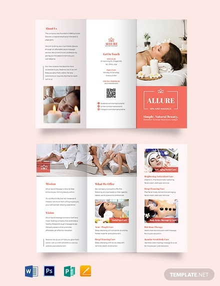 spa massage tri fold brochure template