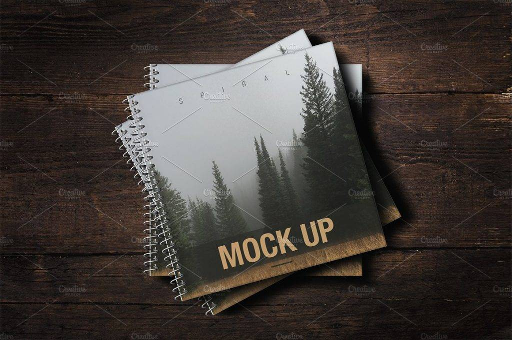 spiral notebook mock up cover