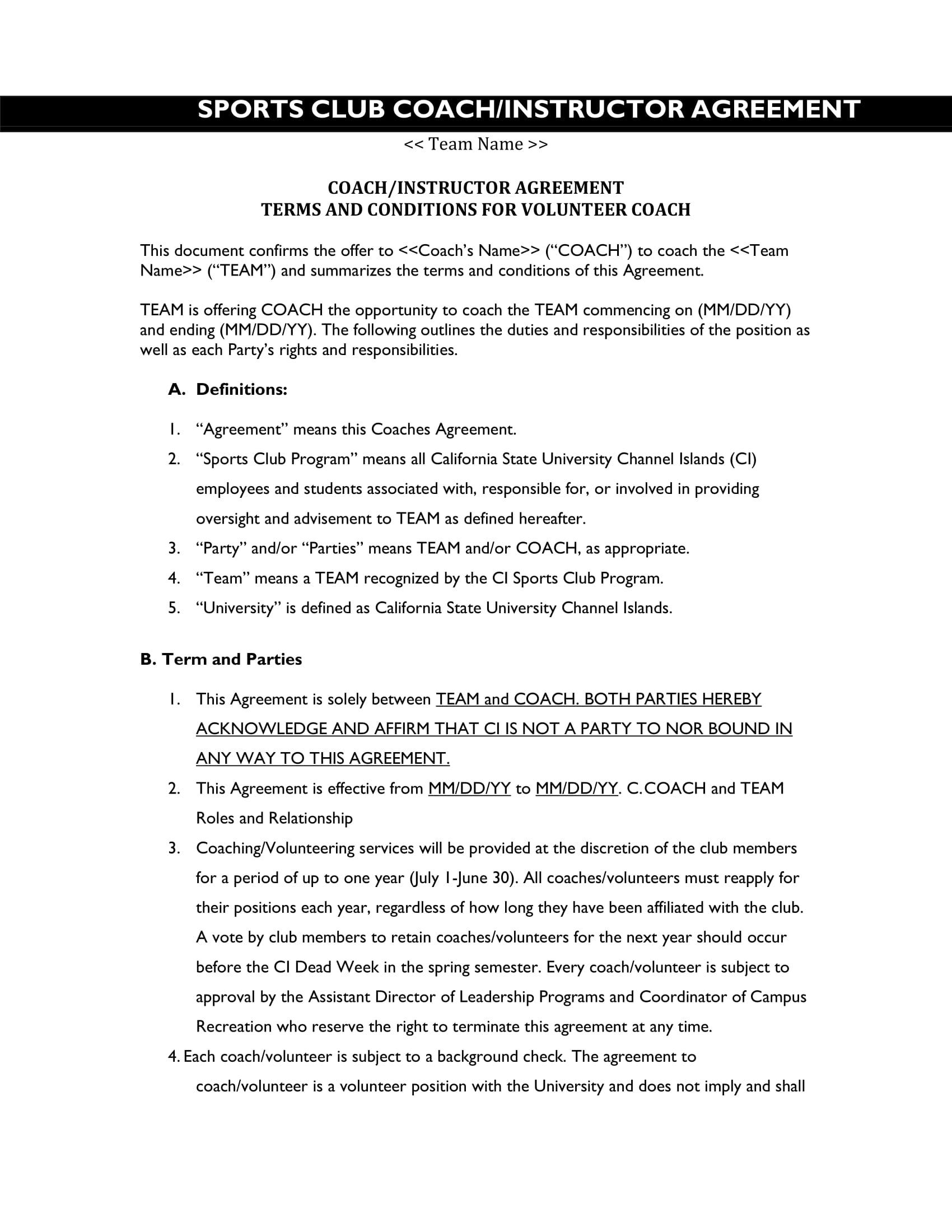 sports club coach instructor agreement