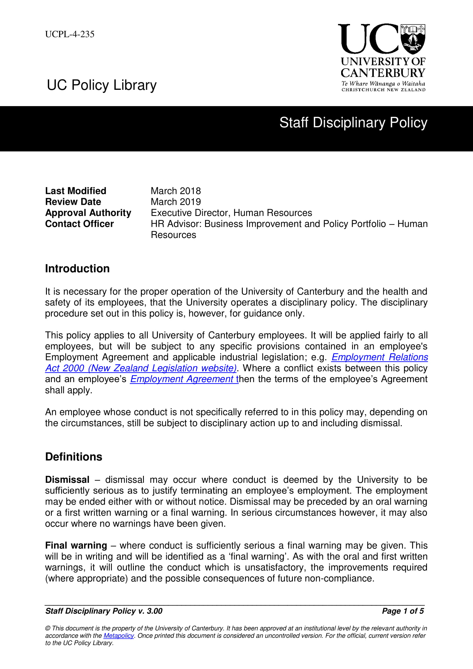 staff disciplinary action policy example