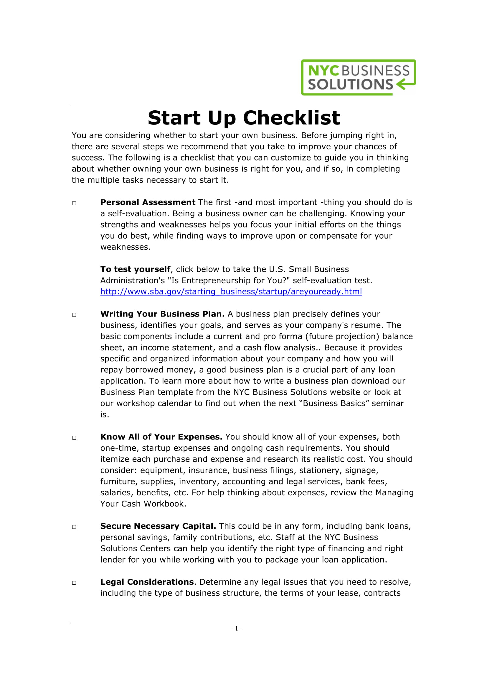start up checklist example