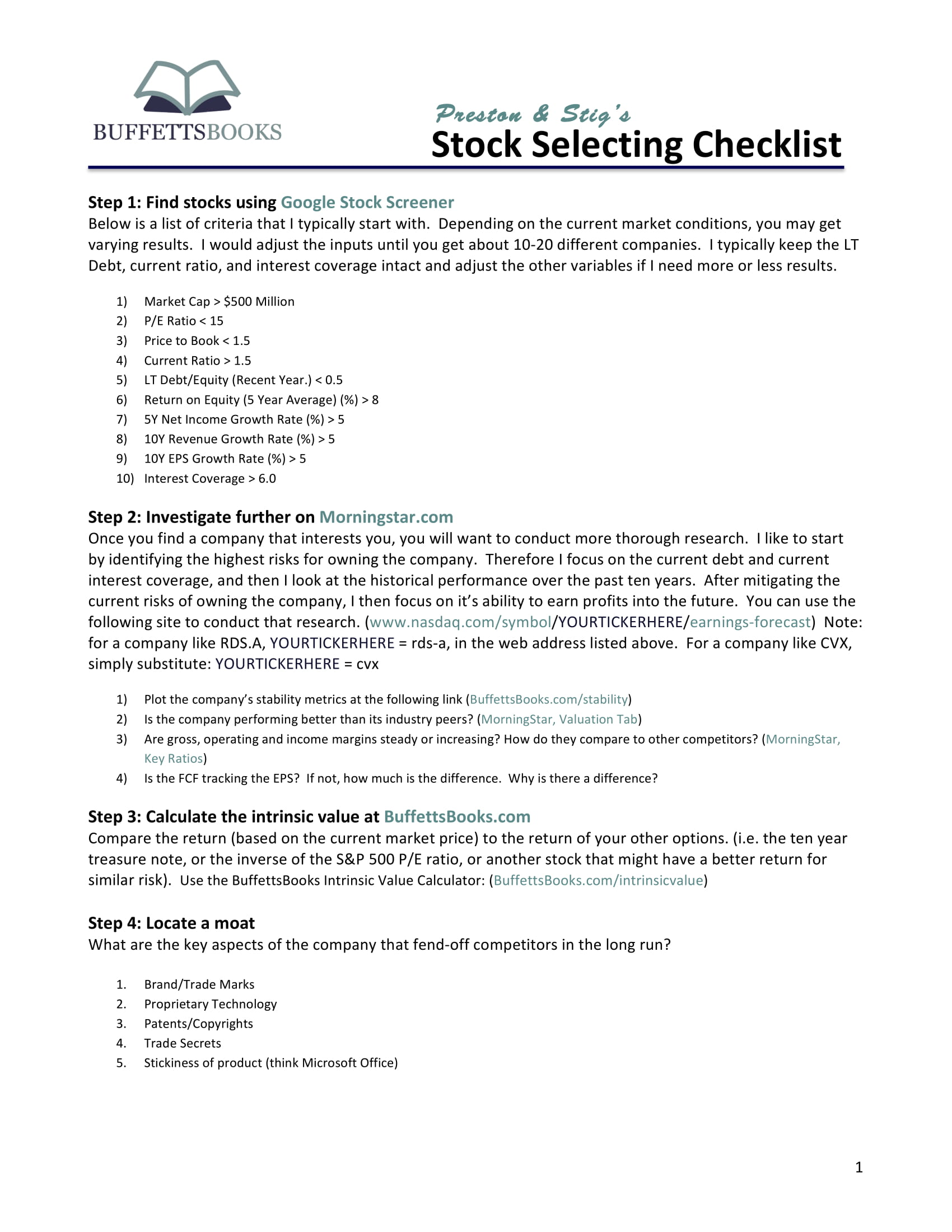stock selecting and investment checklist