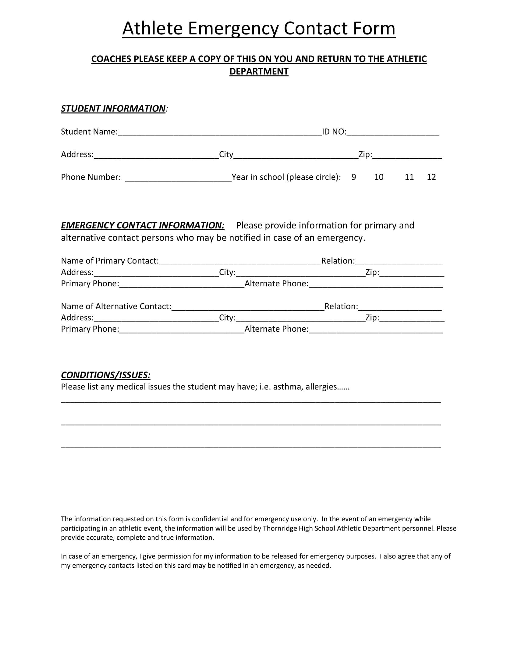 student emergency contact form