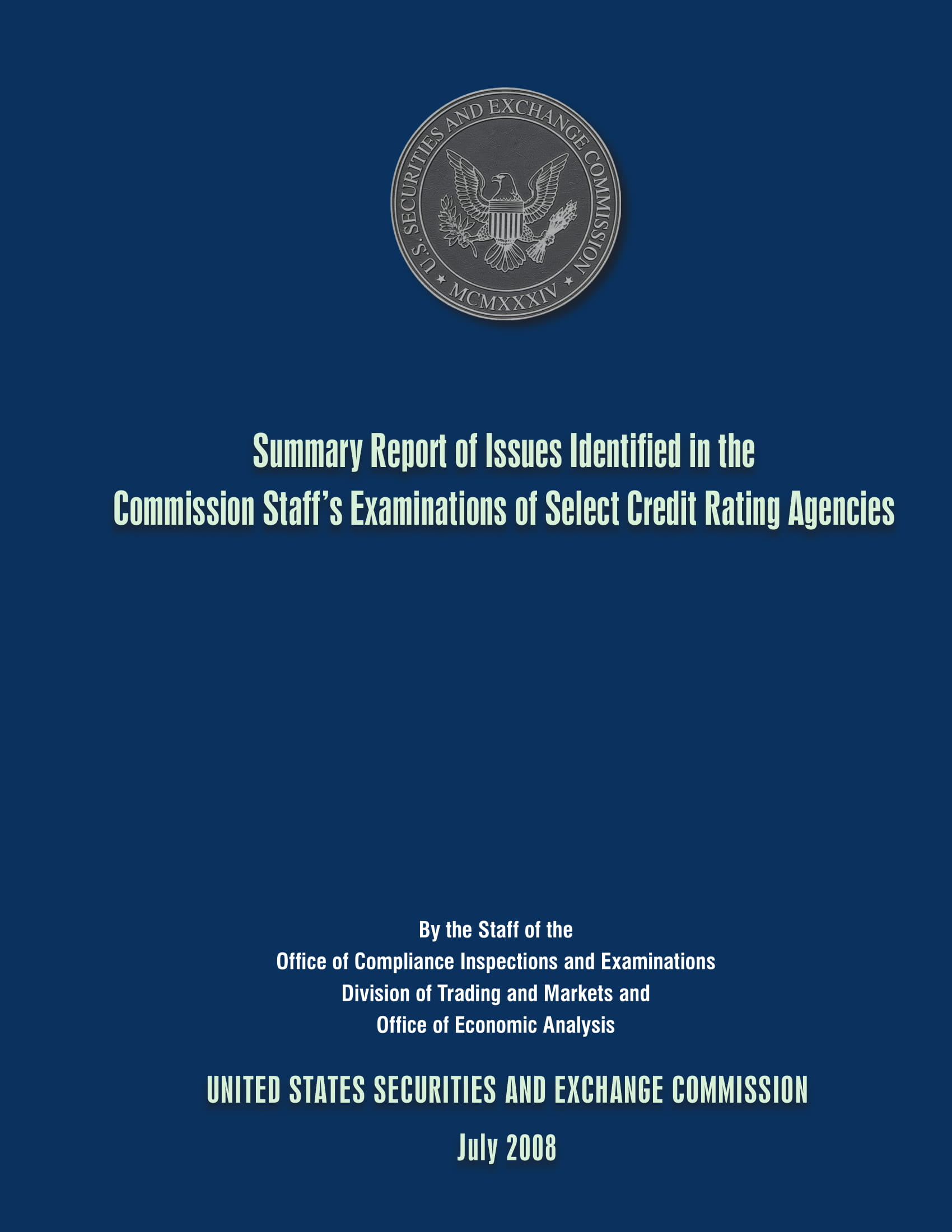 summary report of issues identified in the commission staffs