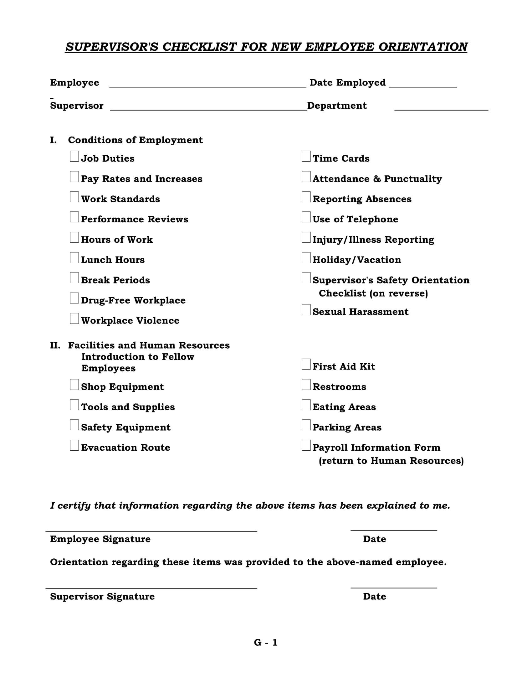 supervisors checklist for new employee orientation