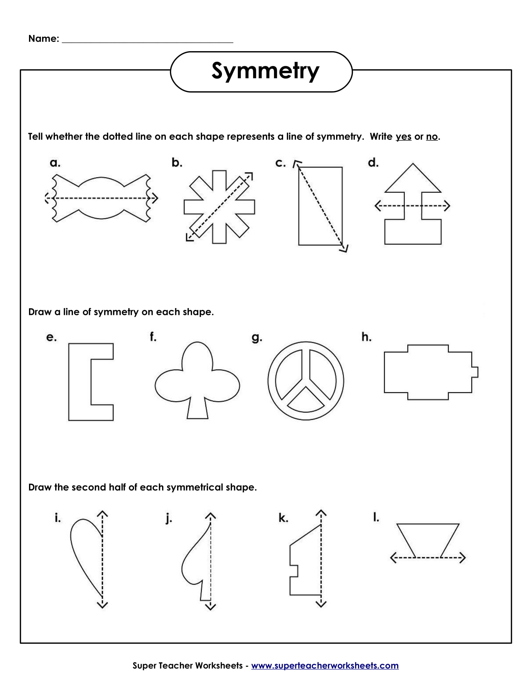 symmetry sample worksheet