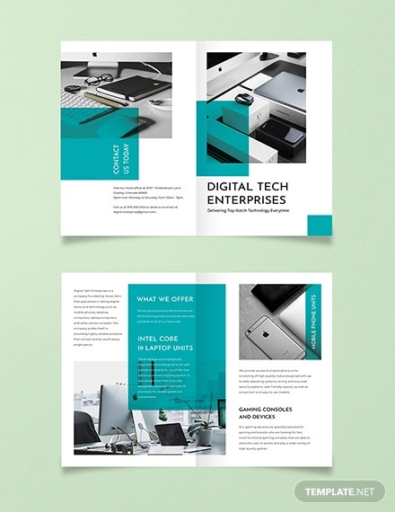 technology bi fold brochure template