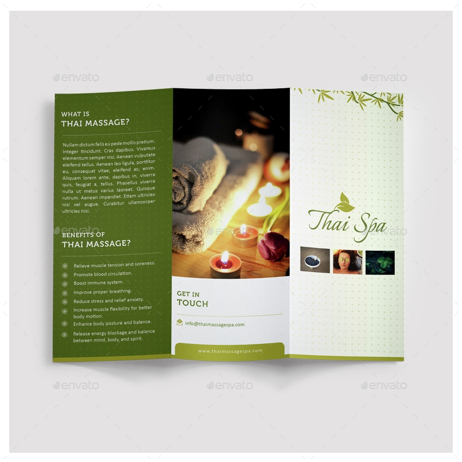 thai massage spa sample tri fold brochure example