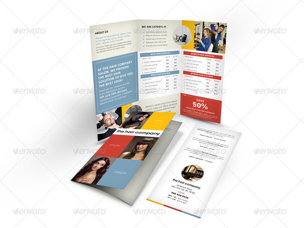 the hair company tri fold brochure
