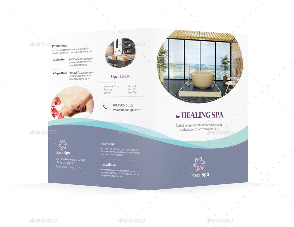 the healing spa sample tri fold brochure example