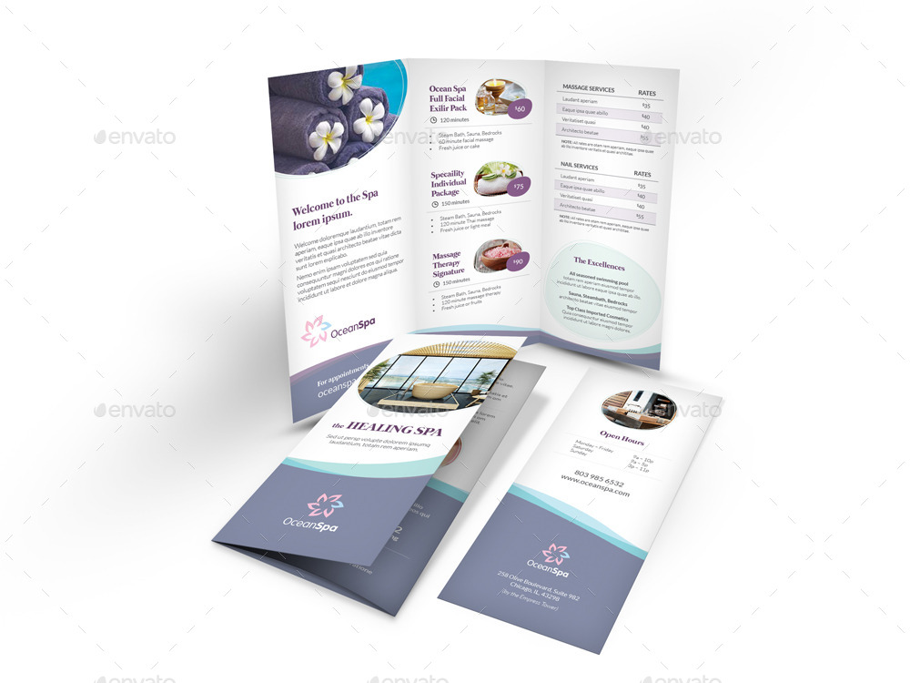the healing spa tri fold sample brochure example