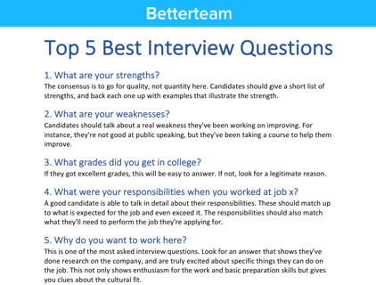 top 5 best interview questions