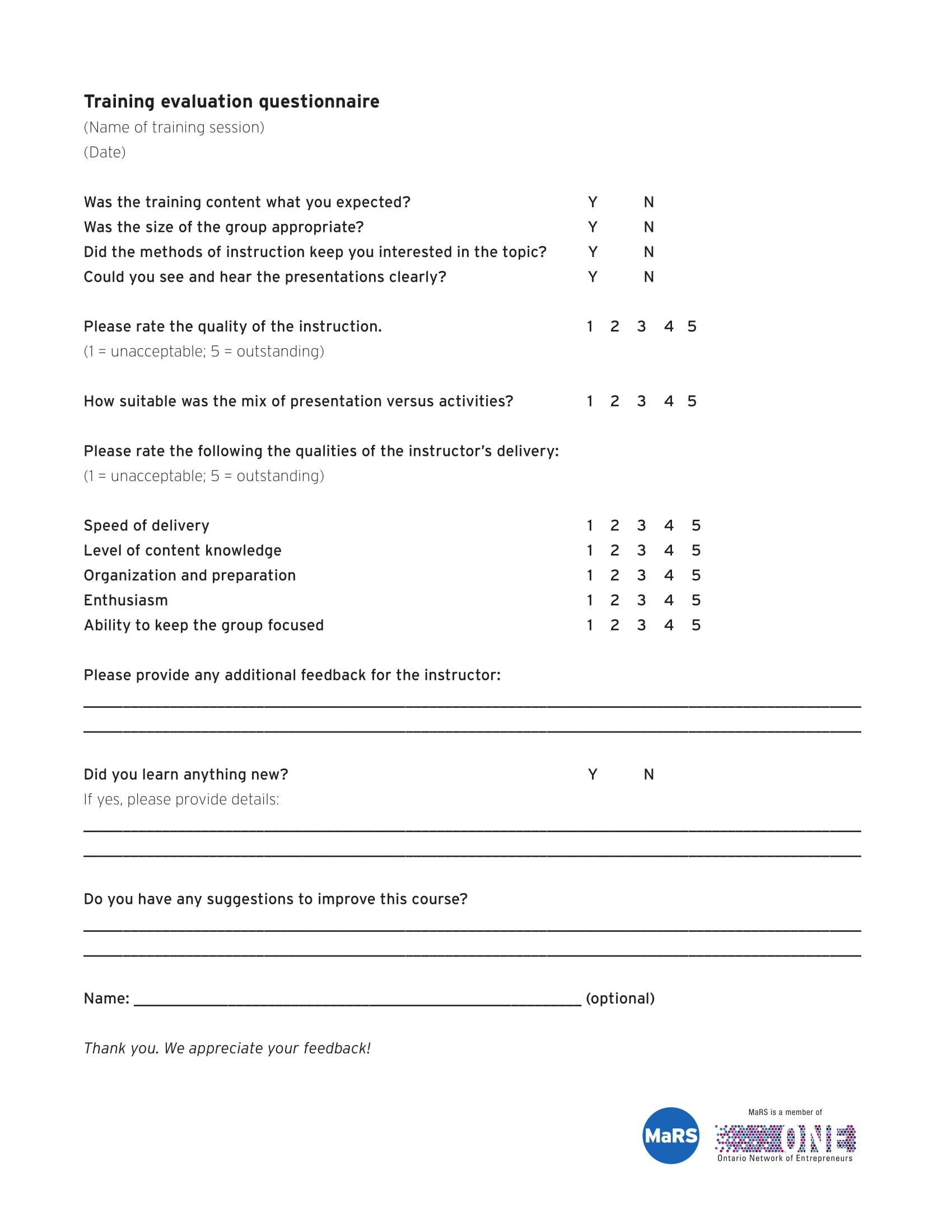training evaluation questionnaire 1