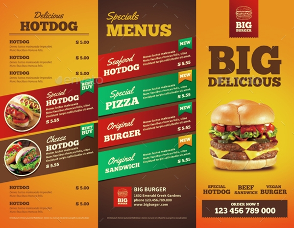 tri fold fast food brochure template example