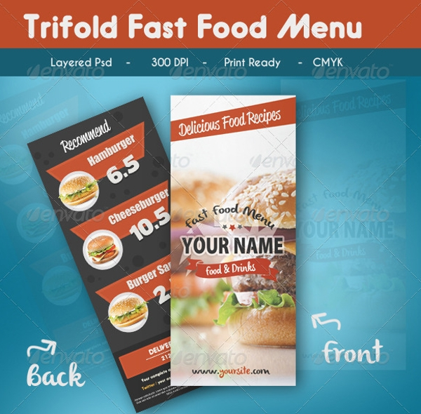 trifold fast food menu brochure example